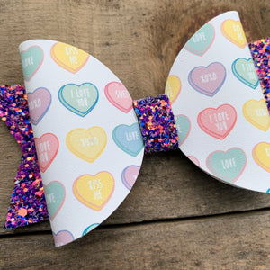 Candy heart bow