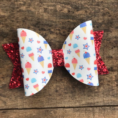 Patriotic ice cream bow