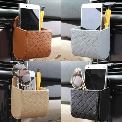 Car Auto Outlet Vent Trash Box PU Leather Mobile Phone Holder Debris Bag