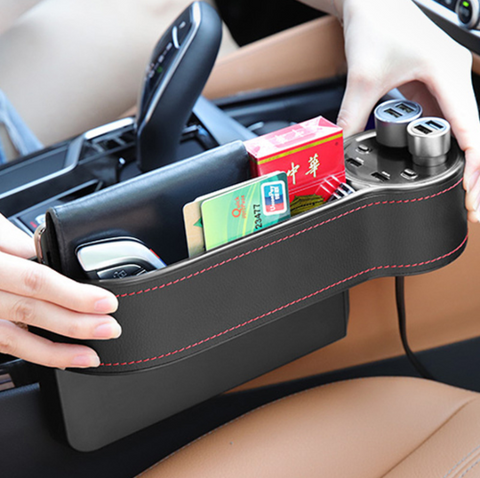 【Today Free Shipping】AUTOLOVER Car Seat Gap Filler, C15 Premium PU Leather Car Seat Side Pocket Organizer Car Seat Storage Organize with 2 USB Chargers and 2 Lighters