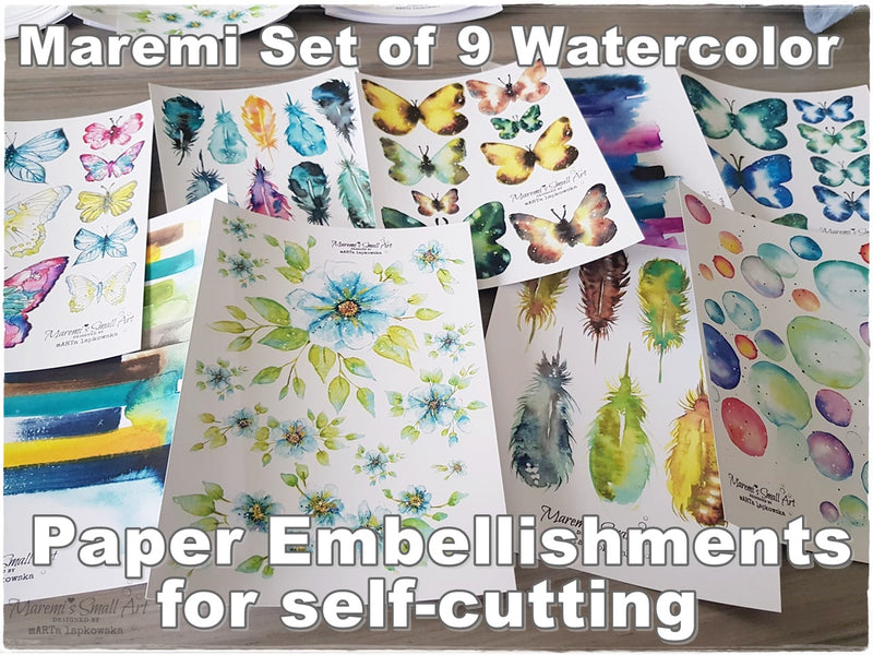 Maremi's Handpainted Watercolor Designs Printed Set of 9 Sheets of Paper Embellishments for self-cutting