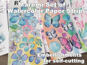 Maremi's Handpainted Watercolor Designs Printed Set of 7 Strips of Paper Embellishments for self-cutting