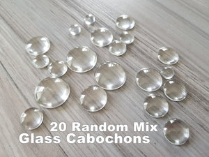 20 pieces random Glass Embellishments Cabochons for scrapbooking, for cardmaking