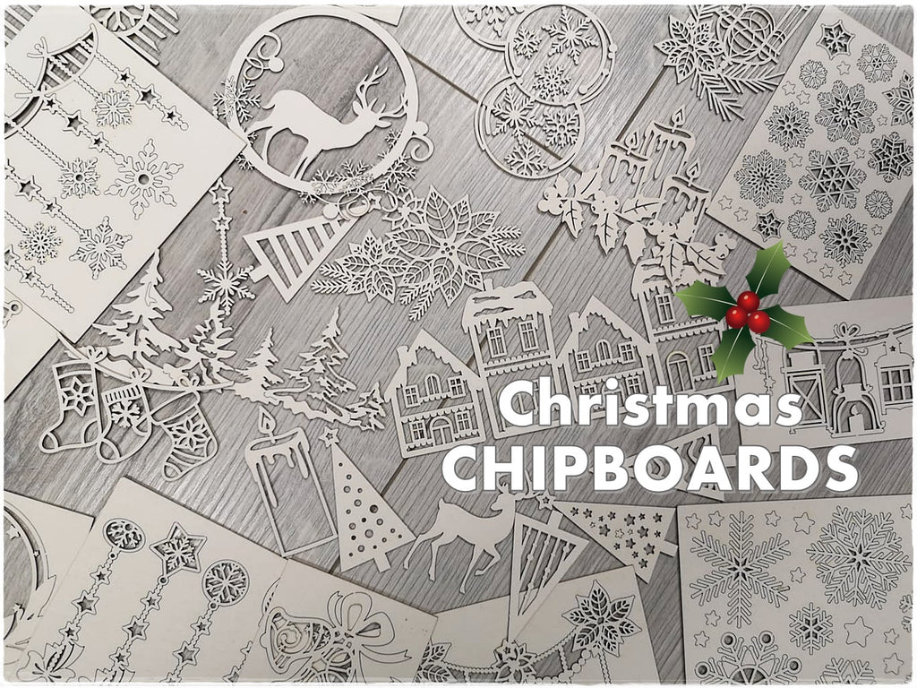 NEW !!! Christmas Set of 5 random chipboards for mixed media and cardmaking
