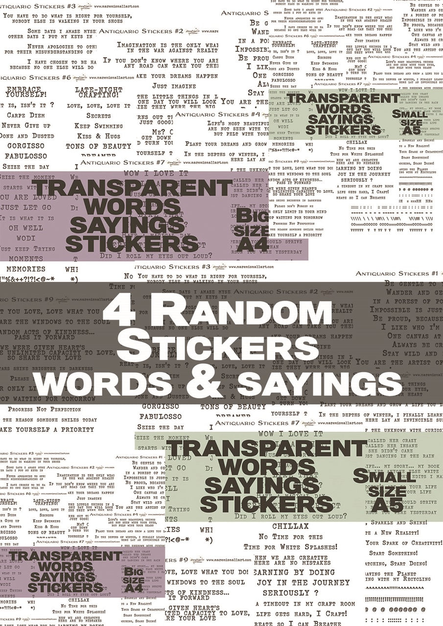 4 RANDOM Transparent Stickers - Maremi's Words, Sayings