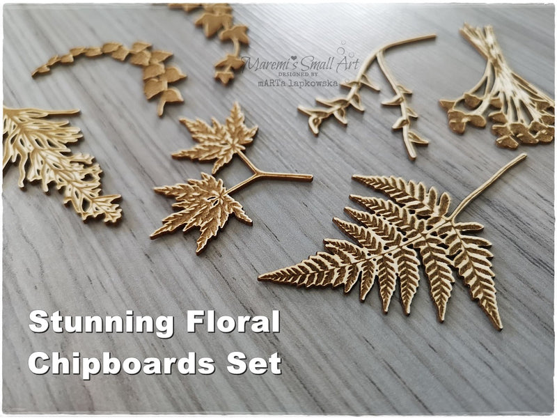 Beautiful Floral Set of Chipboards