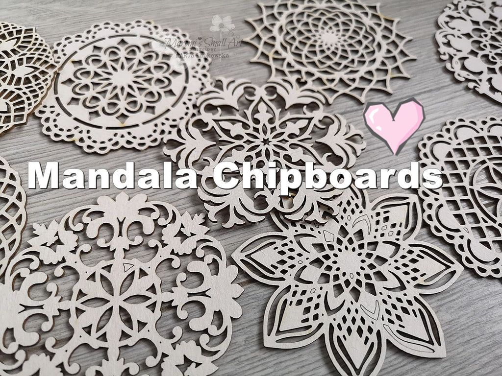 Set of 3 Random MANDALA chipboards for mixed media and cardmaking