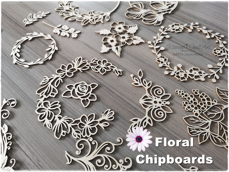 10 Pieces of beautiful random Floral Chipboard Set