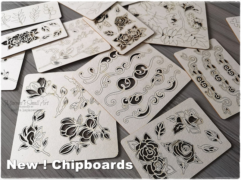 3 Pieces of random sets of Chipboard