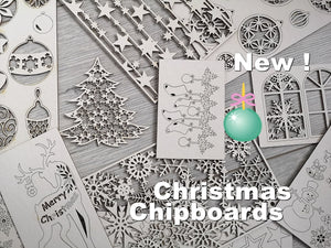 Christmas Set of 5 random chipboards for mixed media and cardmaking New!
