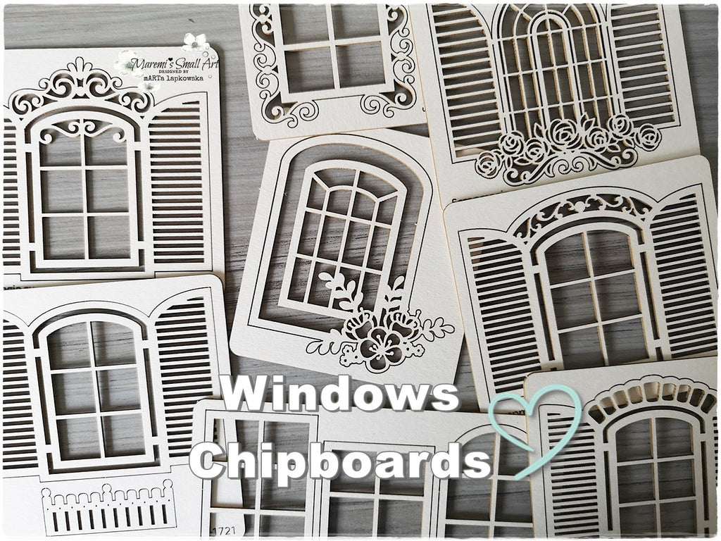 3 Pieces of beautiful random Windows Chipboard Set