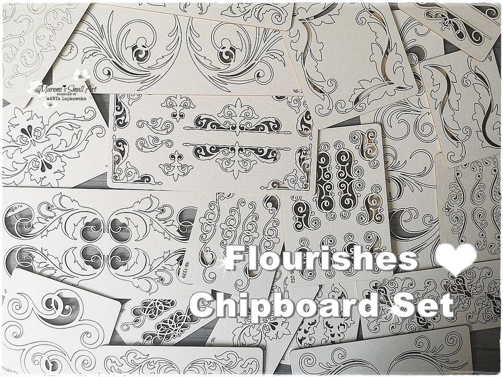 5 Pieces of beautiful random Flourishes Chipboard Set