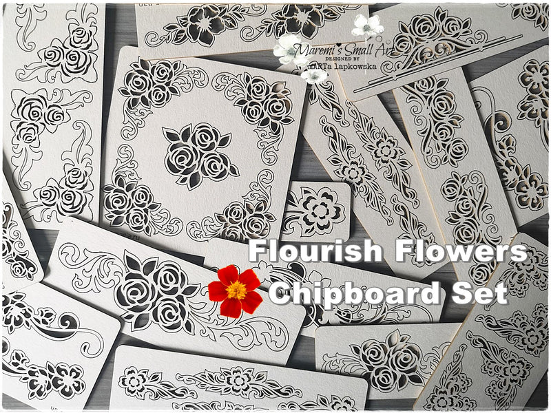 5 Pieces of beautiful random Flourish Flowers Chipboard Set