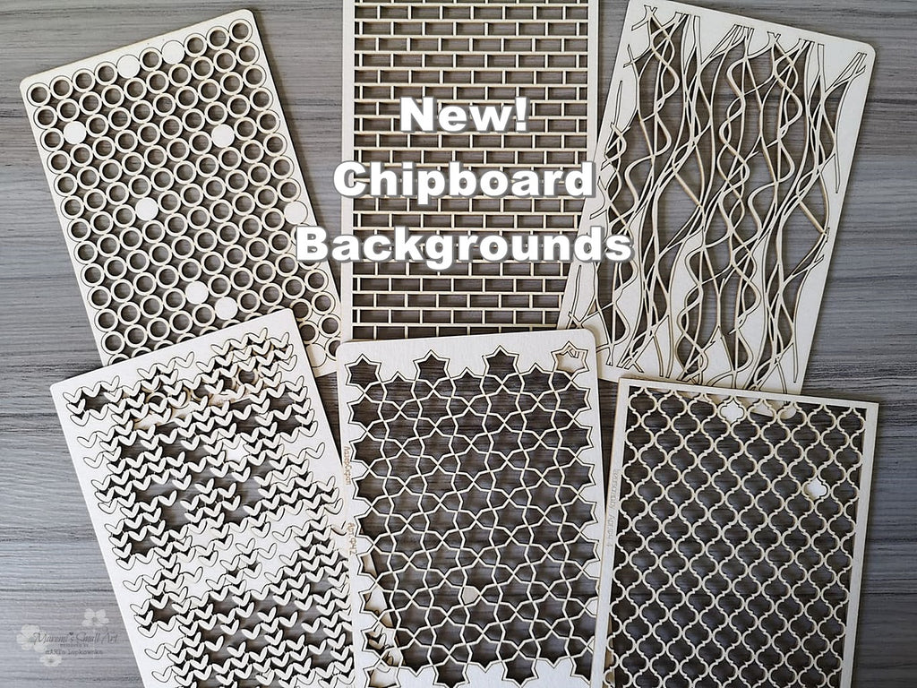 6 Pieces of beautiful Backgrounds Chipboard Set