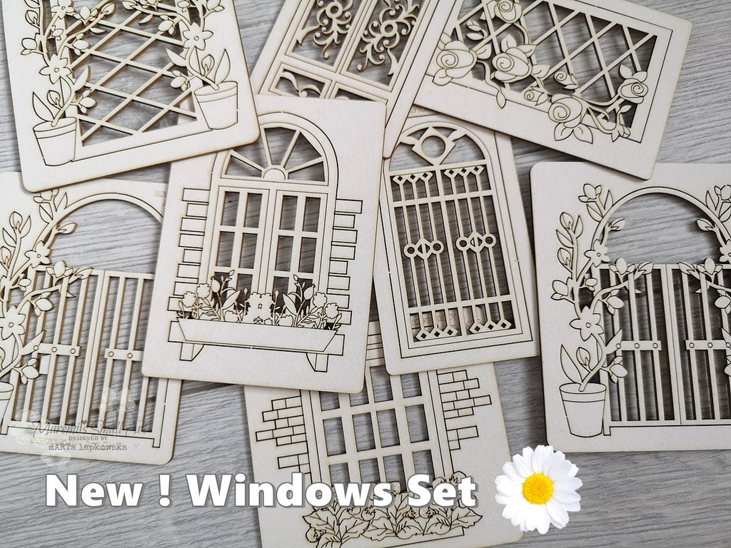 NEW! 4 Pieces of beautiful random Windows Chipboard Set
