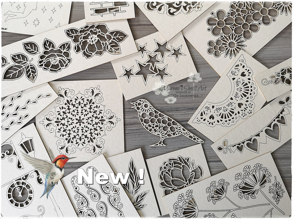 New Chipboards! Set of 5 random pretty pieces