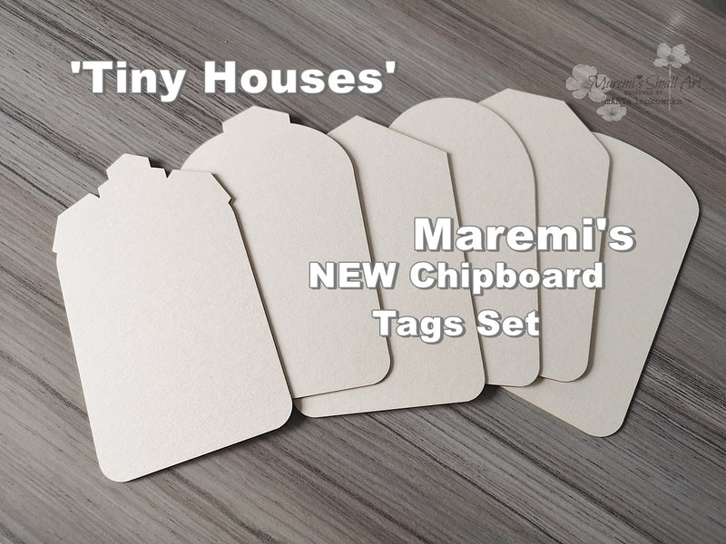 NEW! Maremi's Set of 6 'Tiny Houses' Tag Chipboards