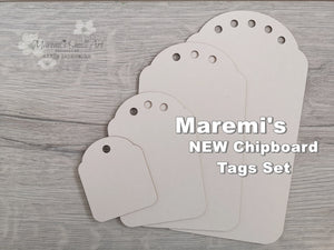 NEW! Maremi's Set of 4 Tag Chipboards Round