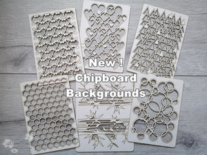 New! 6 Pieces of beautiful Backgrounds Chipboard Set