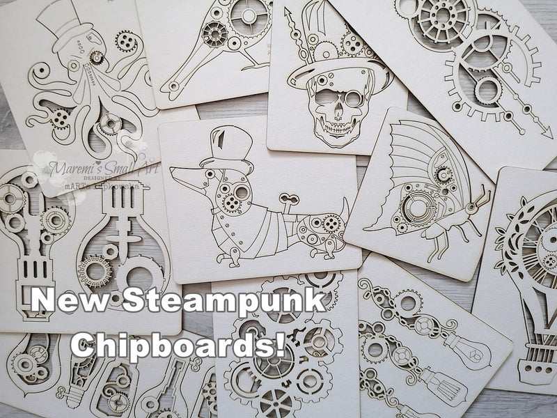 NEW! 3 Pieces of random Steampunk Chipboard Set