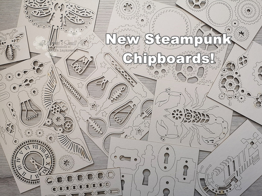 NEW! 3 Steampunk Chipboard Set Mix of Big & Small