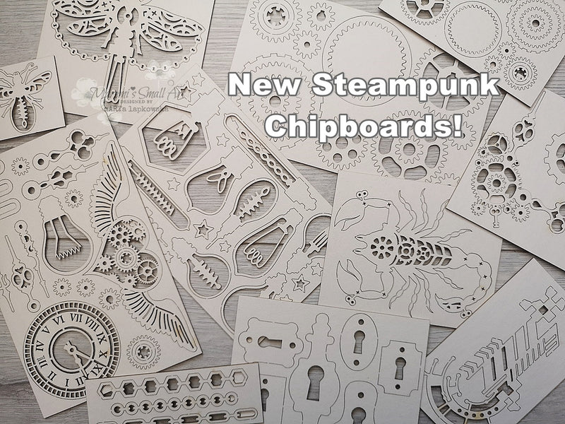 NEW! Steampunk Chipboard Set Mix of Big & Small