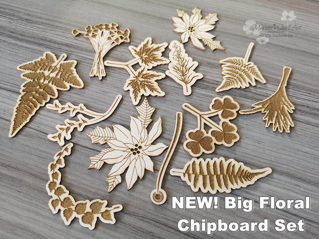 NEW! Floral BIG Set of Chipboards
