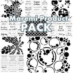 Maremi's 9 Product PACK all Stencil and Stickers for mixed media, art journaling