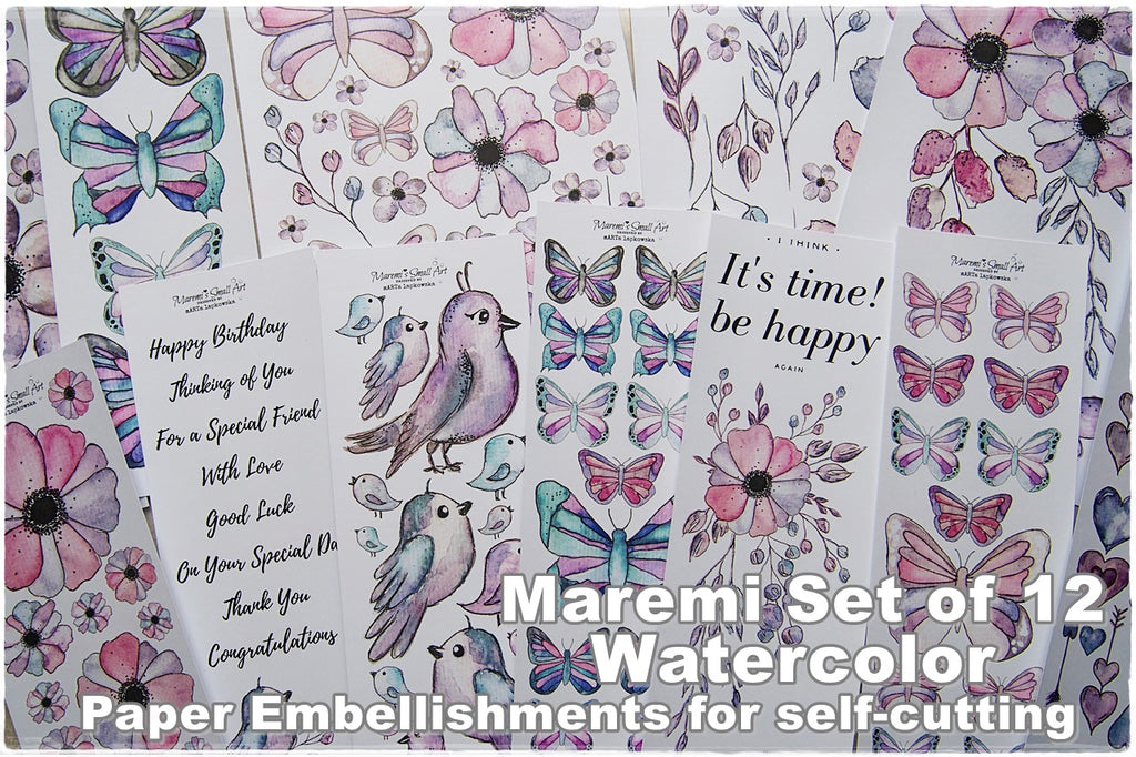 Maremi's Handpainted Watercolor Designs Printed Set of 12 Paper Embellishments for self-cutting