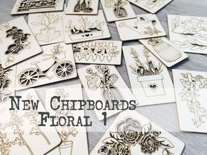 NEW !!! Set of 5 random chipboards Floral 1