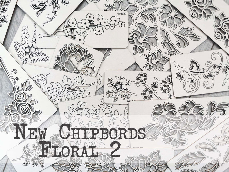 NEW !!! Set of 5 random chipboards Floral 2