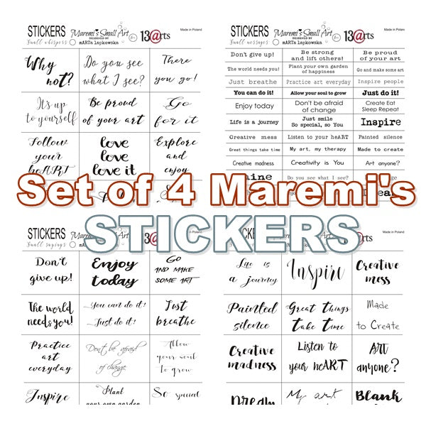 Set of 4 Maremi's Stickers for mixed media, art journaling
