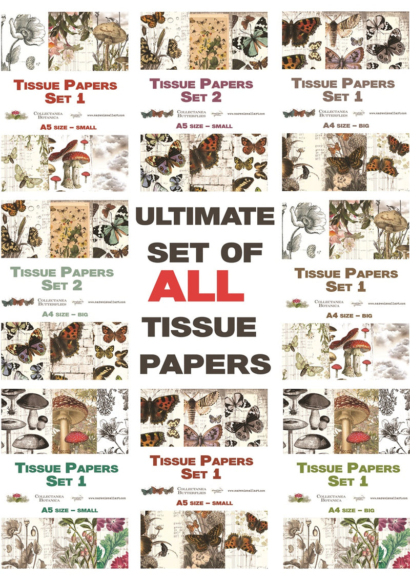 Ultimate set of Tissue Papers 'Collectanea Butterflies & Botanica' A4 & A5