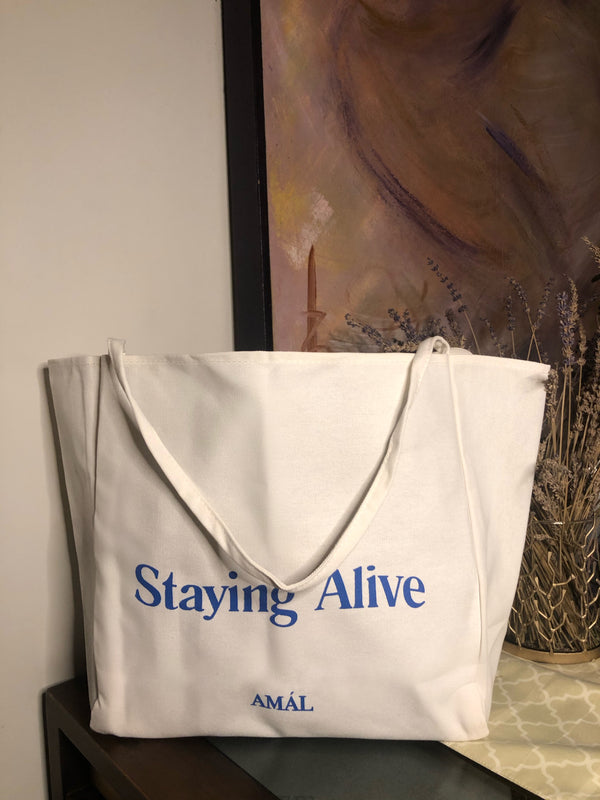 OVERSIZED STAYING ALIVE TOTE BAG