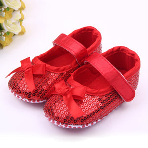 Baby Sequin Shoes  Sole Cotton  Red Pink Black