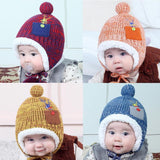 Christmas Deer Baby Hat Winter Pompon Knitted Cap