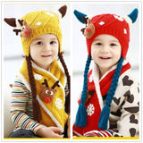 Cute Horns Baby Hat Scarf Set Baby Girls Cap