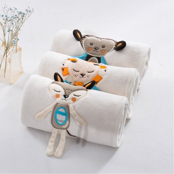Baby Blanket Soft Flannel Swaddling Embroider