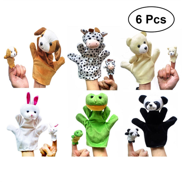 6 Pcs Cute Hand Puppets Baby Toys Plush Hand