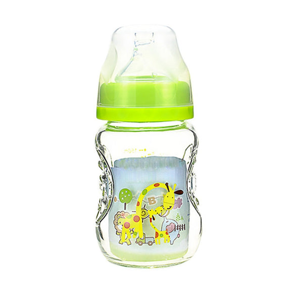 Baby Cartoon Glass Milk Wide Mouth Bottle