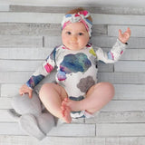 Baby Rompers 2pcs Baby Cute O-Neck Cartoon  Wear