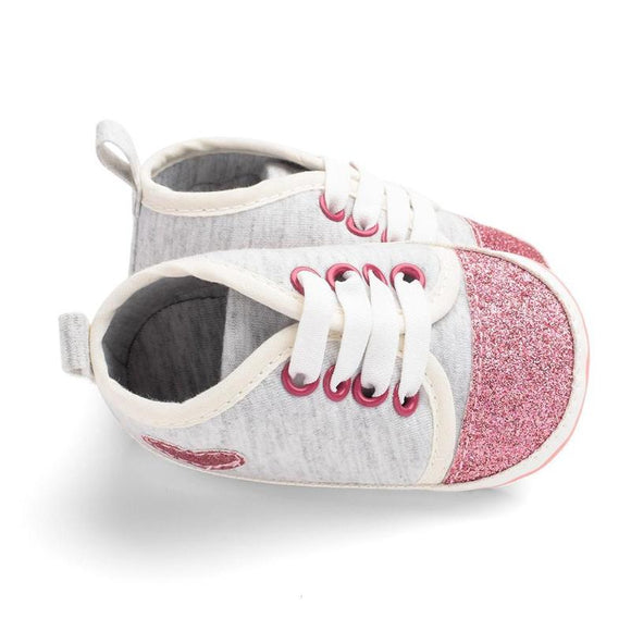 Baby Boys Girls Heart Sequins Shoes Soft First Walkers
