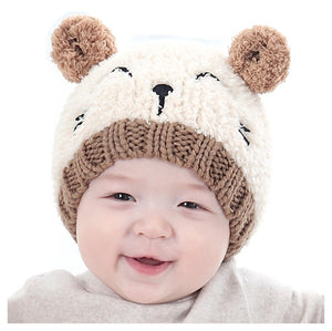 Baby Hat Cute Bear Shape Design Dual Balls