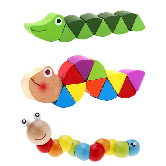 Colorful Wooden Worm Puzzles Baby Development Toys