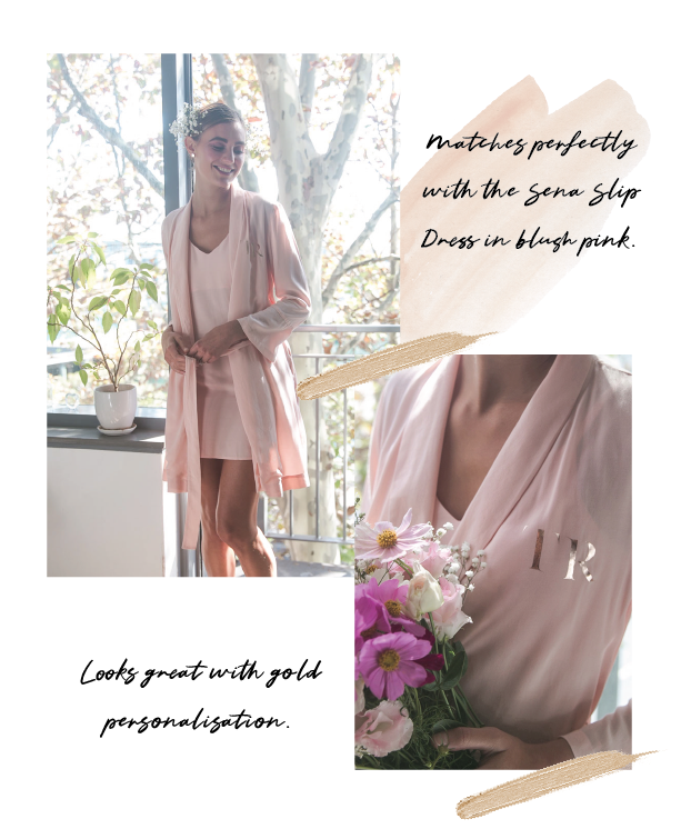 Cara Bridal Robe Blush Pink