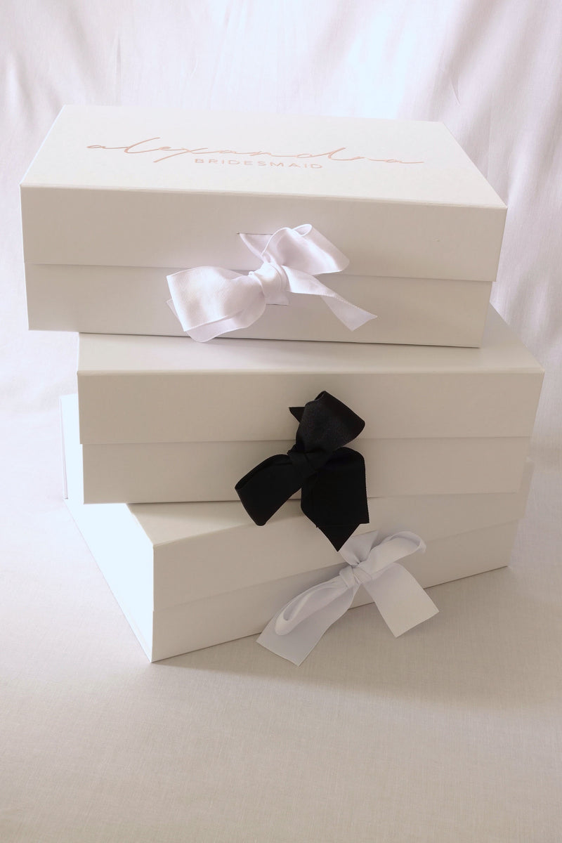 Classic Gift Box with White Ribbon - Large - Style 2