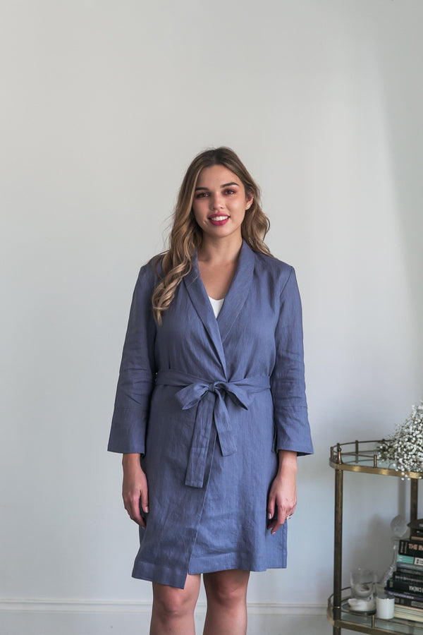Alys Linen Short Robe Dove Grey