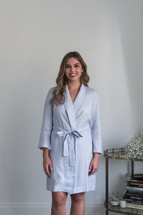 Alys Linen Short Robe Light Blue