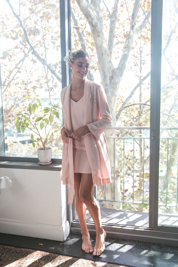 Cara Short Bridal Robe in Blush Pink