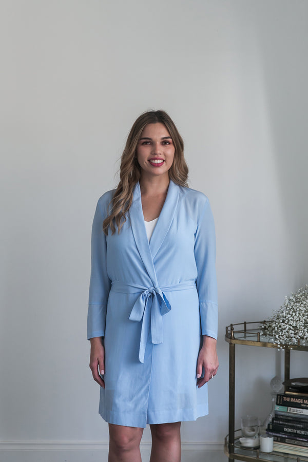 Cara Short Bridal Robe in Powder Blue